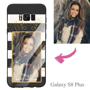 "Galaxy S8 Plus Custom ""Happy Everyday"" Photo Protective Phone Case - Glass Surface"