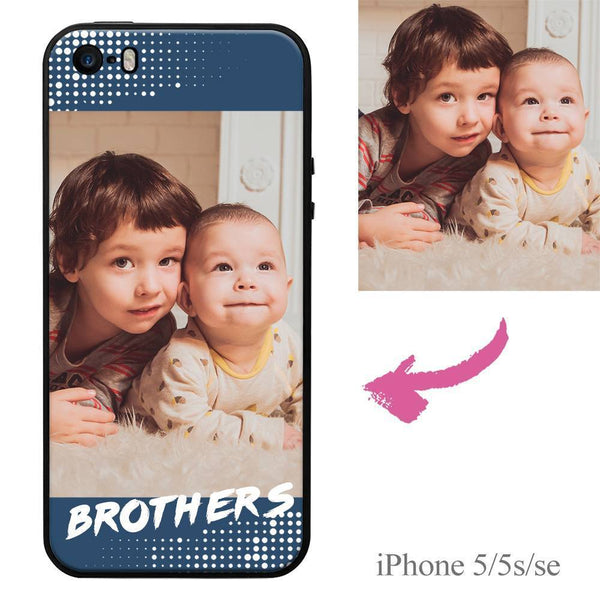 "iPhone5/5s/se Custom ""Brothers"" Family Photo Protective Phone Case Soft Shell Matte"