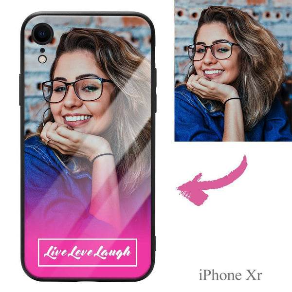 "iphoneXr Custom ""Live Love Laugh"" Photo Protective Phone Case - Glass Surface"