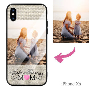 "iphoneXs Custom ""Mom"" Photo Protective Phone Case - Glass Surface"