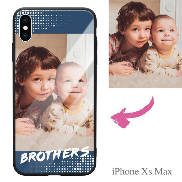 "iphoneXs Max Custom ""Brothers"" Photo Protective Phone Case - Glass Surface"