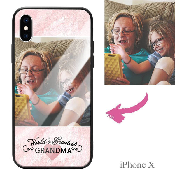 "iphoneX Custom ""Grandma"" Photo Protective Phone Case - Glass Surface"