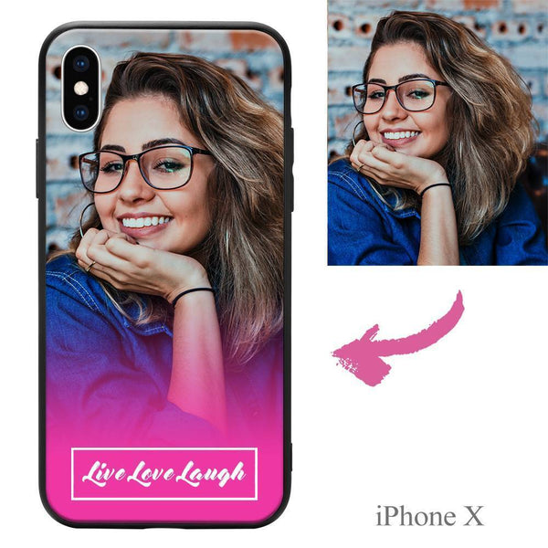 "iphoneX Custom ""Live Love Laugh"" Photo Protective Phone Case Soft Shell Matte"