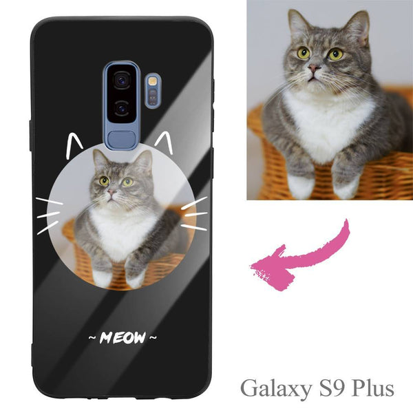 Galaxy S9 Plus Custom Cat Photo Protective Phone Case - Glass Surface