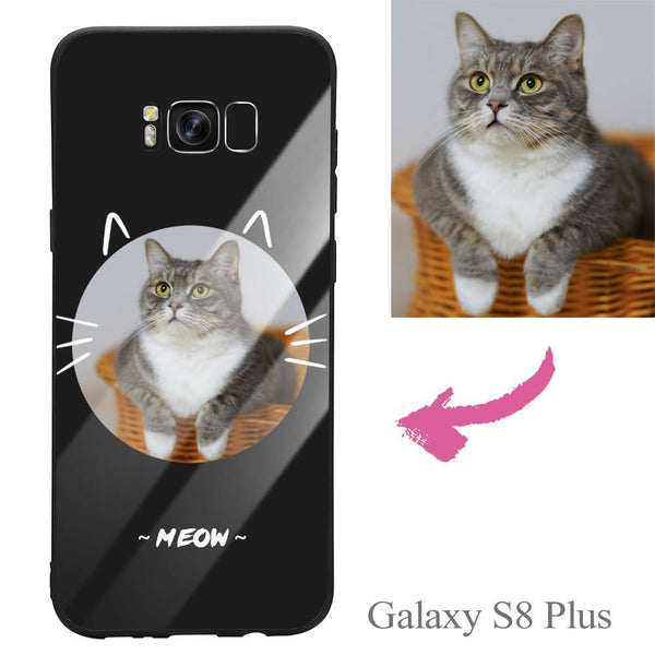 Galaxy S8 Plus Custom Cat Photo Protective Phone Case - Glass Surface