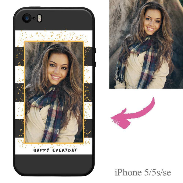 "iPhone5/5s/se Custom ""Happy Everyday"" Photo Protective Phone Case Soft Shell Matte"
