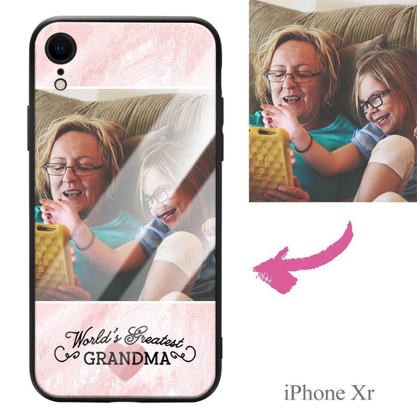 "iphoneXr Custom ""Grandma"" Photo Protective Phone Case - Glass Surface"