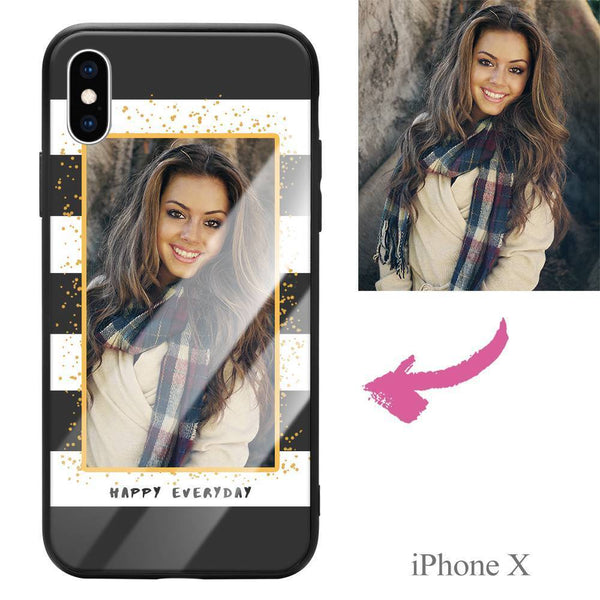 "iphoneX Custom ""Happy Everyday"" Photo Protective Phone Case - Glass Surface"
