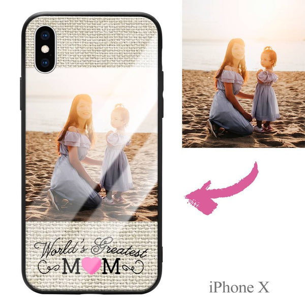 "iphoneX Custom ""Mom"" Photo Protective Phone Case - Glass Surface"