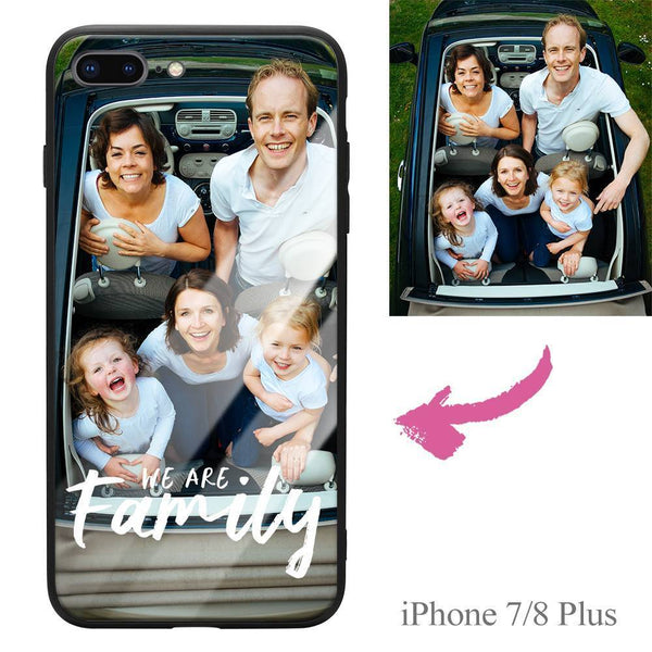 "iPhone7p/8p Custom ""We Are Family"" Photo Protective Phone Case - Glass Surface"