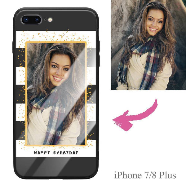 "iPhone7p/8p Custom ""Happy Everyday"" Photo Protective Phone Case - Glass Surface"