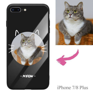 iPhone7p/8p Custom Cat Photo Protective Phone Case - Glass Surface