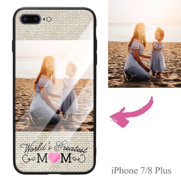 "iPhone7p/8p Custom ""Mom"" Photo Protective Phone Case - Glass Surface"