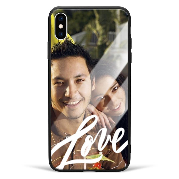 iphoneXs Max Custom Love Glass Surface Photo Phone Case