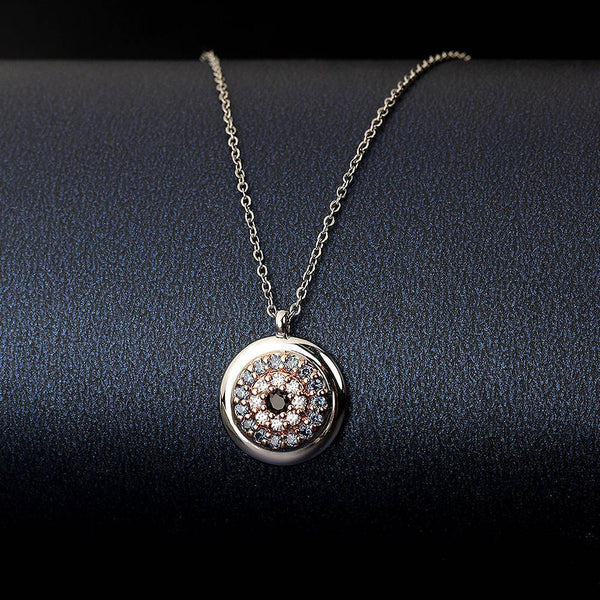 Devil's Eye Pendant Necklace in Platinum  Plated