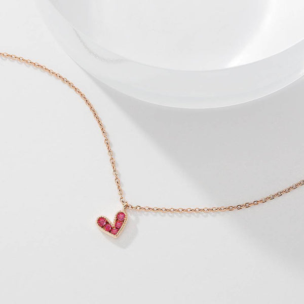 Rose Heart Necklace in Rose Gold Plated