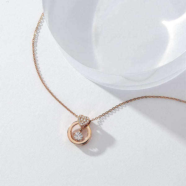 True Love Floating Heart Pendant Necklace in Rose Gold Plated