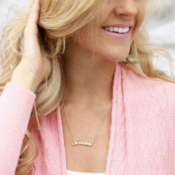 Custom Carrie Style Name Necklace In 14k Gold Plated