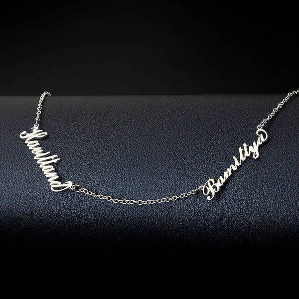 Personalized Two Name Necklace Silver