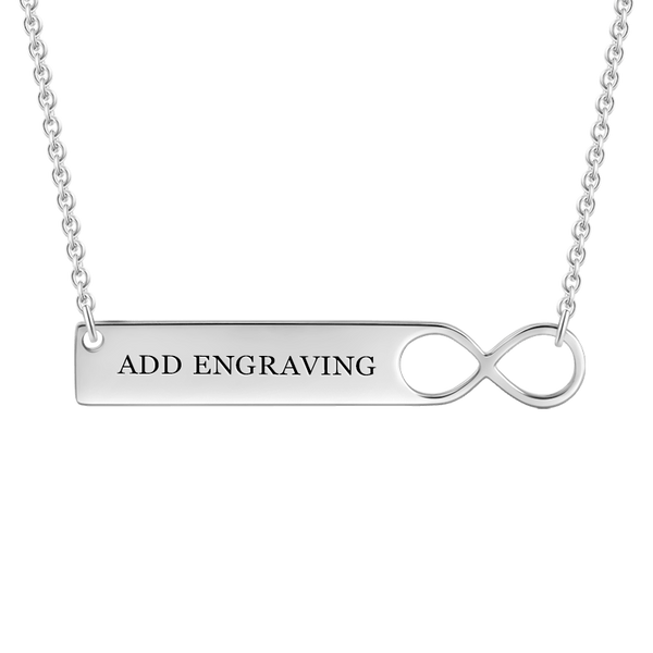 Engravable Infinity Bar Necklace Silver