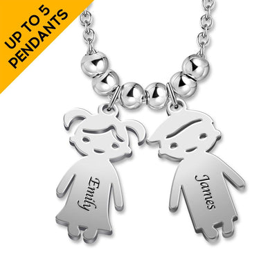 Mother's Necklace with 2-5 Children Charms Silver -  Love Name Necklace