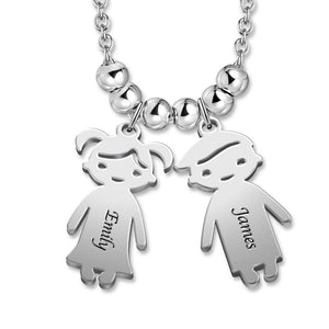 Mother's Necklace with 2-5 Children Charms Stainless Steel in Silver For Her
