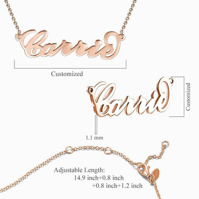 Carrie Style Name Necklace Rose Gold -  Love Name Necklace