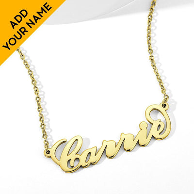 14K Gold Plated Carrie Name Necklace Copper -Love Name Necklace