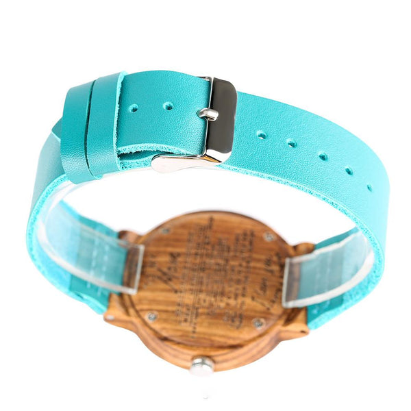 To My Girlfriend - Sky Blue Leather Wooden Watch