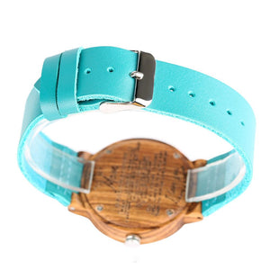 To My Dad - From Son - Sky Blue Leather Wooden Watch