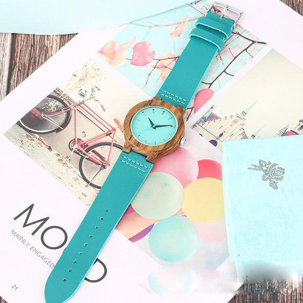To My Son - Sky Blue Leather Wooden Watch