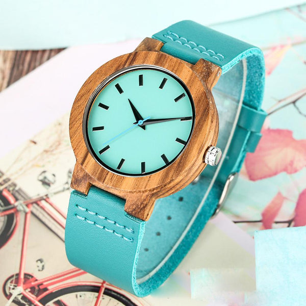 To My Mom - Sky Blue Leather Wooden Watch