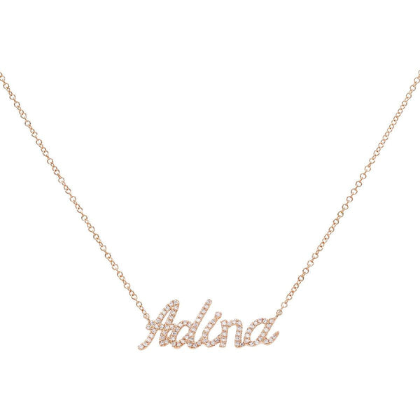 Diamond Script Name Necklace 14K