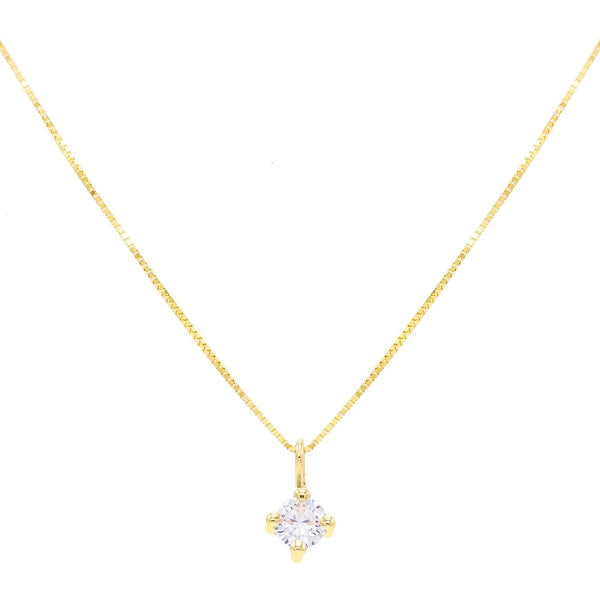 CZ Solitaire Necklace 14K