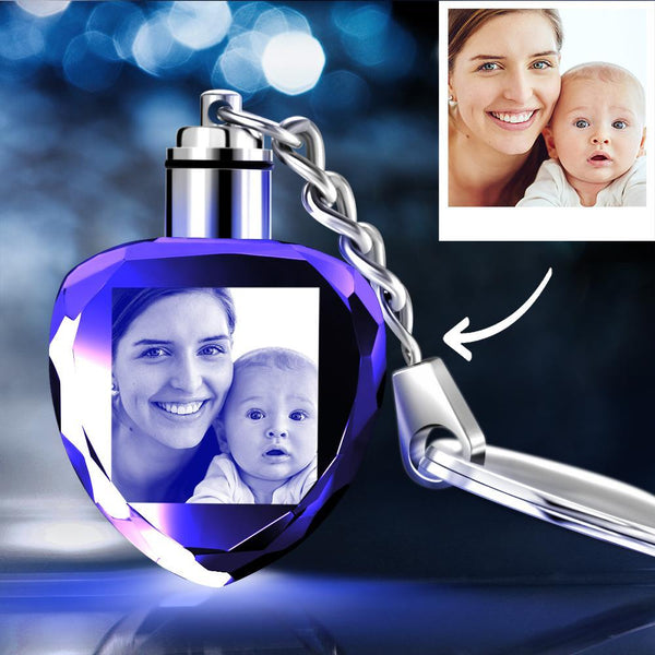 Gifts for Family Custom Crystal Heart Shape Photo Key Chain