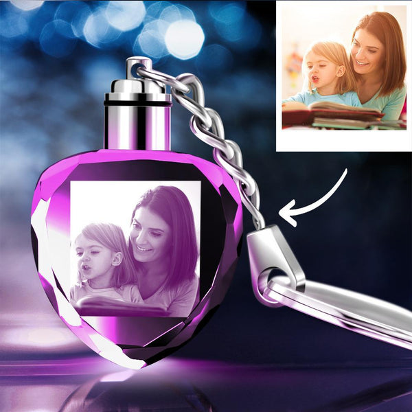 Gifts for Mom Custom Crystal Heart Shape Photo Key Chain