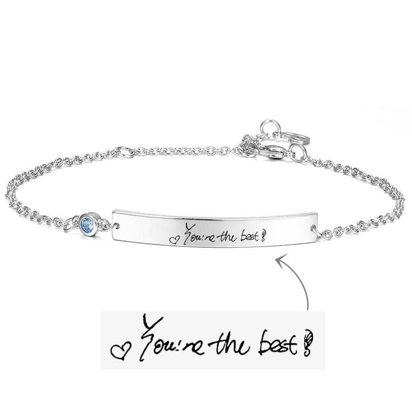 Personalized Actual Handwriting Photo Birthstone Bracelet - Silver