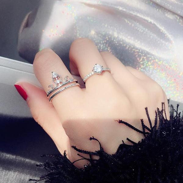 Double Diamond-encrusted Crown Detachable Ring Silver Color