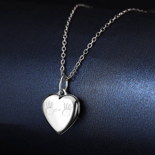 Custom Heart Engraved Photo Necklace Mother's Necklace