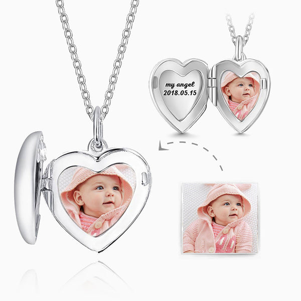 Engraved Heart Photo Locket Necklace For Mom
