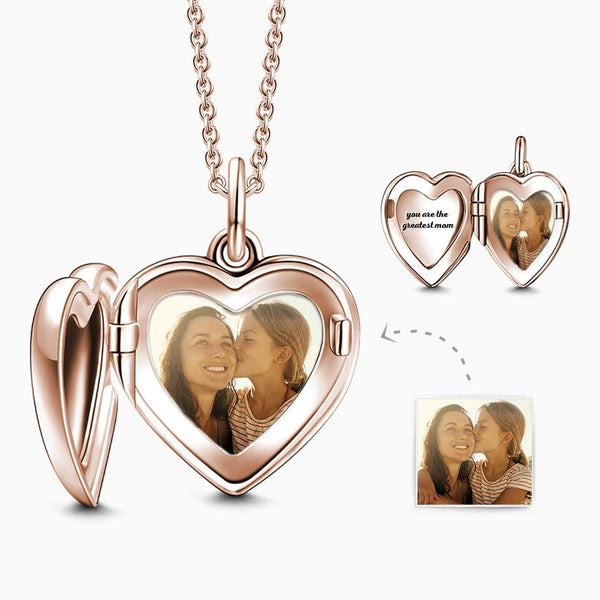 Engraved Heart Photo Locket Necklace Rose Gold Plated