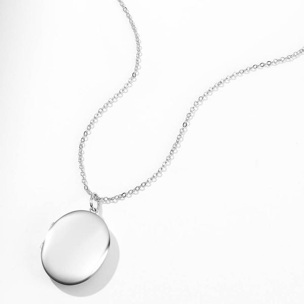 Oval Photo Locket Necklace With Engraving Platinum Plated