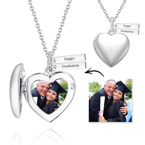 Graduation Gifts Personalized Heart Photo Locket Necklace With Engraving Name Platinum Plated