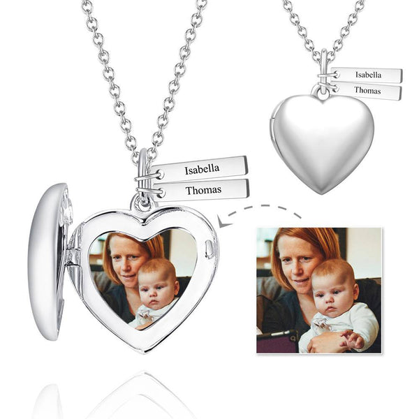Mom's Gift - Personalized Heart Photo Locket Necklace With Engraving Name Platinum Plated