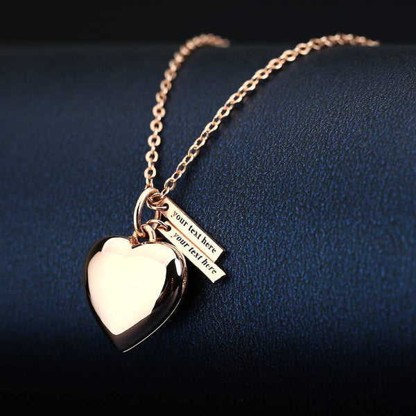 Gifts for Graduation Personalized Heart Photo Locket Necklace With Engraving Name Rose Gold Plated