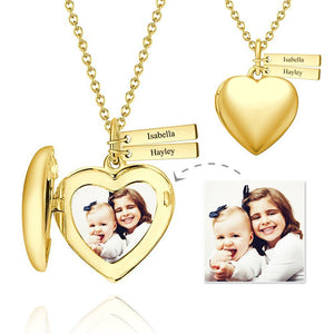Personalized Heart Photo Locket Necklace With Engraving Name 14k Gold Plated For Mom