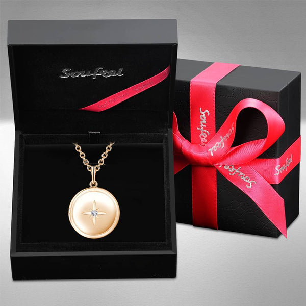 Star Printing Photo Locket Necklace Rose Gold Plated