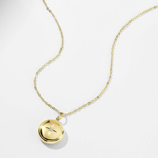 Personalized Star Printing Photo Locket Necklace 14k Gold Plated