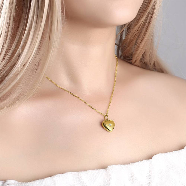 Star Printing Photo Locket Necklace 14k Gold Plated