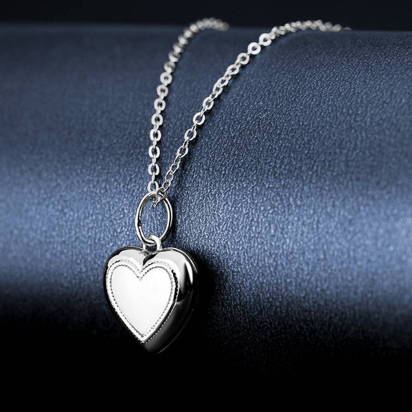Heart Printing Photo Locket Necklace With Engraving Platinum Plated